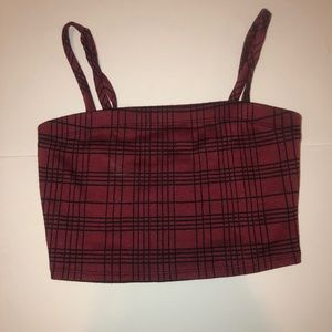 Plad Black and Burgundy Spaghetti Strap Crop Top